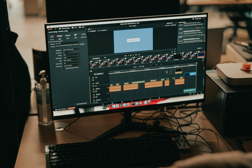 Image of a desktop with editing software on screen. Image is being used for an article on video content in post-production.