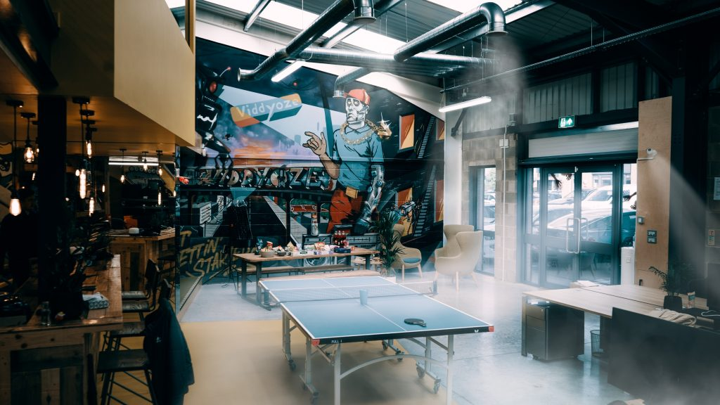 A shot of the office area including ping pong table and smokey Halloween effects over the image –used to support an article about creating video content for Halloween.